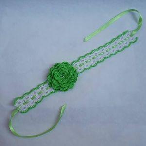 Beautiful Crochet adjustable baby headbands Green